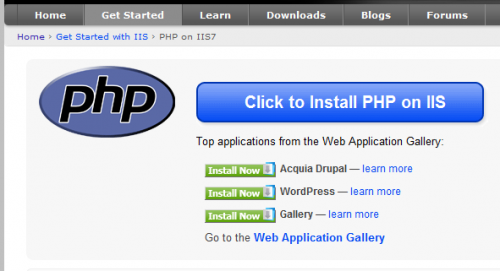 PHP on IIS7: The Official Microsoft IIS site