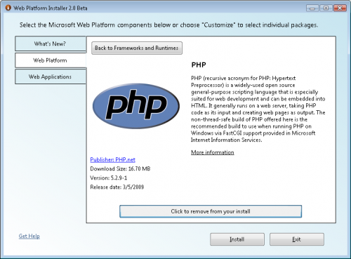 PHP in WebPI