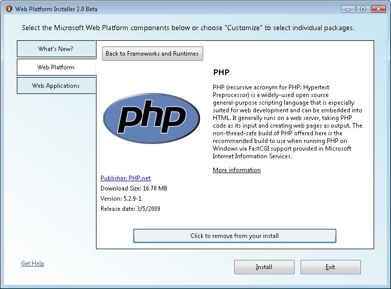 install php windows 2012 r2