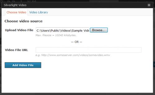 Upload media file