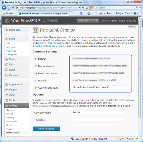 Permalink Settings page with Pretty Permalinks