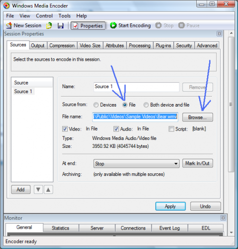 Session Properties Dialog