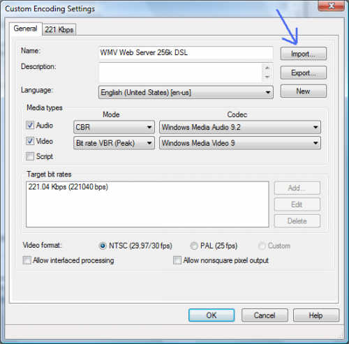 Custom Encoding Settings