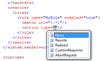 Intellisense for URL Rewrite Configuration in Visual Studio