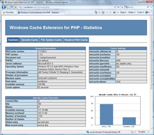 WinCache Statistics Script