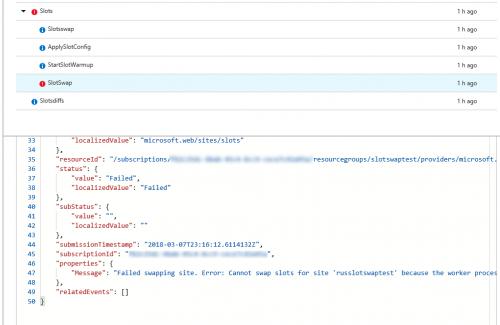 Failed swap event in activity log